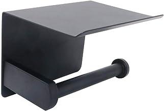 NUZAMAS Soporte autoadhesivo para papel higiénico, soporte para teléfono de placa superior, soporte de pared de acero inoxidable sin taladros, soporte para rollo de papel higiénico,cocina o hogar