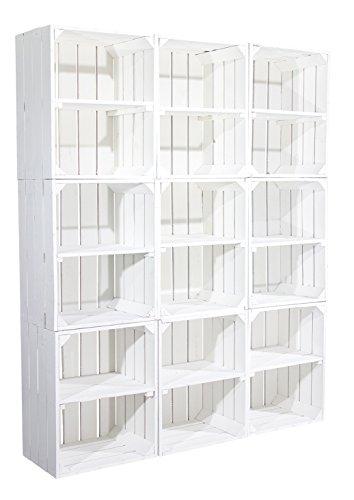 Weiße Regalkiste mit Boden -quer- als Bücherregal (12er Set)