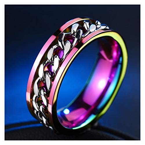 XYBH Timbre de Timbre Fresco de Acero Inoxidable Ring's Ring's Ring's Rotating Cain Punk Ladies Fiesta Regalo Anillo (Main Stone Color : Red, Ring Size : 9)