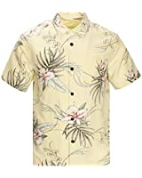 Havana Breeze Men's Silk and Linen Casual Hawaiian Shirt, Leaf Print on Light Yellow Background, M