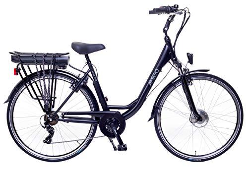 Amigo E-Active - Bicicletta elettrica da donna da 28 pollici, con cambio Shimano a 7 marce, 250 W e 13 Ah, batteria agli ioni di litio da 36 V, colore nero