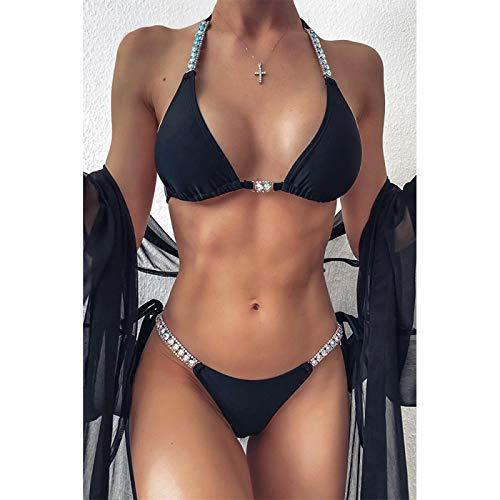 RIQWOUQT Conjunto Lencería Sexy para Mujer Conjunto De Lencería Negra Bikini De Diamantes De Imitación Sexy Traje De Baño Mujeres Top De Tubo Conjunto De Bikini Mujer Push-Up Verano Ropa De Playa