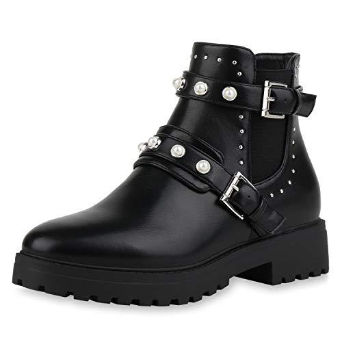 SCARPE VITA Damen Biker Boots Stiefeletten Leder-Optik Schuhe Blockabsatz Booties Zierperlen Profilsohle 185084 Schwarz Perlen 39