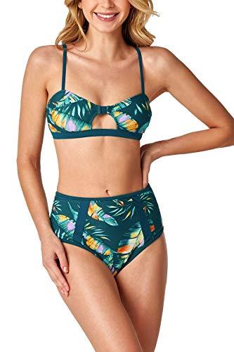 CUPSHE Women's High Waist Bikini Swimsuit Leaf Print Cutout Two Piece Bathing Suit, M