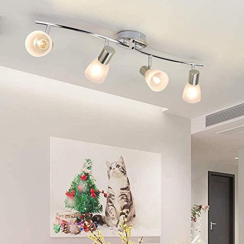 Depuley Deckenlampe mit 4 Flammig Schwenkbar, Led Deckenstrahler Warmweiß mit E14 Fassung(Glühbirne nicht inkl.), Einstellbar Arm, Glasmuster Lampenschirm für Wandspot Whonzimmer Schlafzimmer Studio
