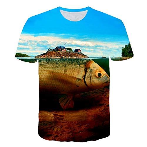 XIAOBAOZITXU T-Shirt Mode Grote Maat Korte Mouwen Grote Vis Huis Unisex Paar Kleding Slim Fit Cool Grappige Zomer Sport T-Shirt