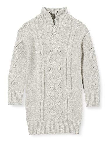 Scotch & Soda R´Belle Mädchen Langärmliges Midikleid aus Wollmischung mit Zopfmuster Dress, Grey Melange 0606, 12