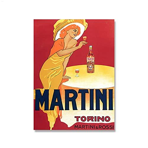 Martini and Rossi 1970s Pinturas en lienzo publicitarias Bebidas alcohólicas vintage Vino Cerveza Póster Arte de pared clásico Decoración de imagen - 50 x 70 cm Sin marco