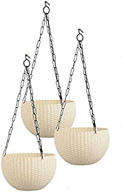 """Antier 6"""" Woven Design Hanging Euro Basket Planters Indoor Outdoor Hanging Flower Plant Pot with Hanging Chain (Pack of 3"""