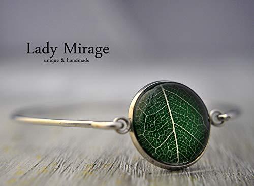 Echtes Blatt Armreif Edelstahl Naturschmuck Handmade Leaf Grün Blütenschmuck Unikat Geschenkidee