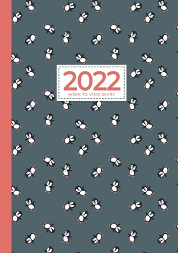 2022 A5 Week to View Diary   Cute Penguins Can Fly: UK Weekly & Monthly Planner ( (UK Holidays, Vision Board, Budgeting, Habits, Moon Phases) Personal Planners & Organisers, Appointment Diaries