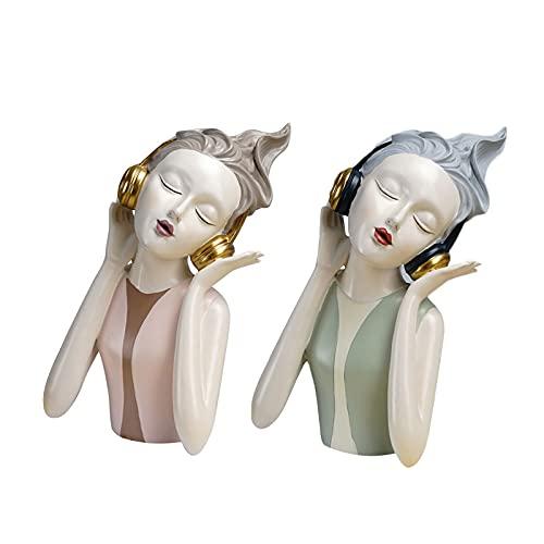 AngYou Auriculares de Desgaste de la Moda Chica Moderna Resina Escultura Decoración para el Hogar Sala de Estar Decoración Figuras Accesorios (Color : Green Statue)