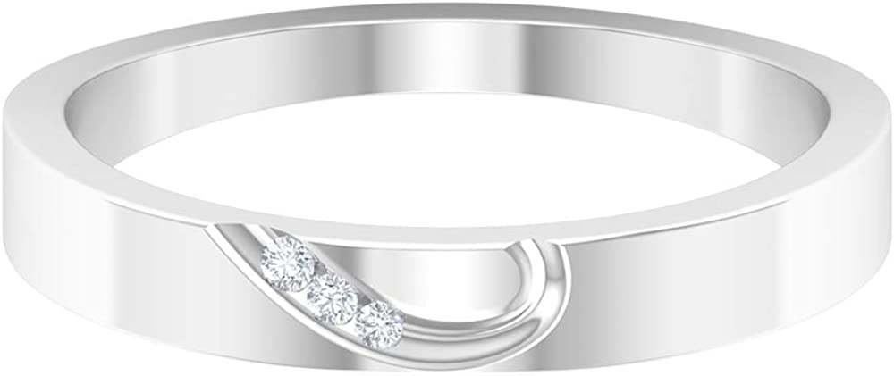 Rosec Jewels – Engraved Wedding Ring with HI-SI Diamond, 14K Gold