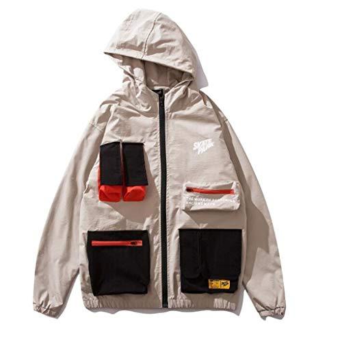 PFSYR Freizeitjacke for Herren, schnelltrocknender, winddichter, lockerer Trenchcoat mit Kapuze. Outdoor-Sportjacke for Junioren und Studenten (Color : Beige, Size : S)