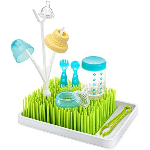 zuoshini Estante de Secado de Biberones Soporte de Bandeja Escurridor Diseño Cesped Verde Soporte de Secador de Biberón Libre de Bpa Antibacteriano para Encimera de Cocina para Cubiertos de Bebé
