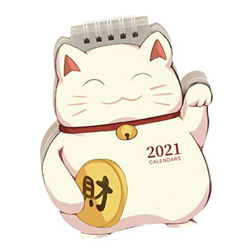 STOBOK Fortune Cat Calendar 1Pc, 12.5X14.5CM Desk Calendar Office Home Planning Notepad Calendar 2021 Calendar School Monthly Year Calendar for Bedroom Living Room