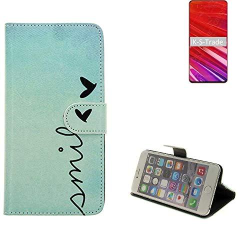 K-S-Trade® Schutzhülle Für Lenovo Z5 Pro GT Hülle Wallet Case Flip Cover Tasche Bookstyle Etui Handyhülle 'Smile' Türkis Standfunktion Kameraschutz (1Stk)
