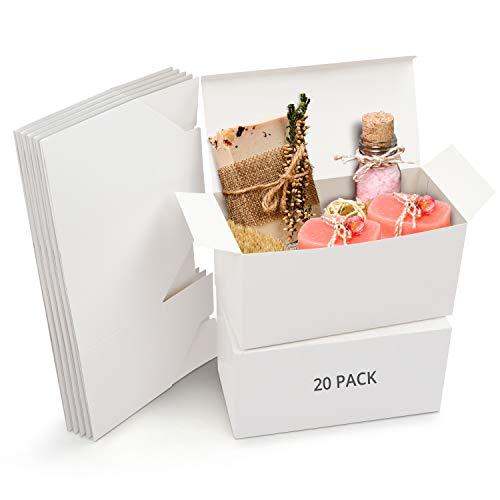 Belle Vous Cajas de Cartón Kraft Blancas (Pack de 20) – Medidas de las Cajas 23 x 11,5 x 11,5 cm - Caja Kraft Fácil Ensamblado Cuadrada Presentación - Cajas Blancas para Fiestas, Cumpleaños, B
