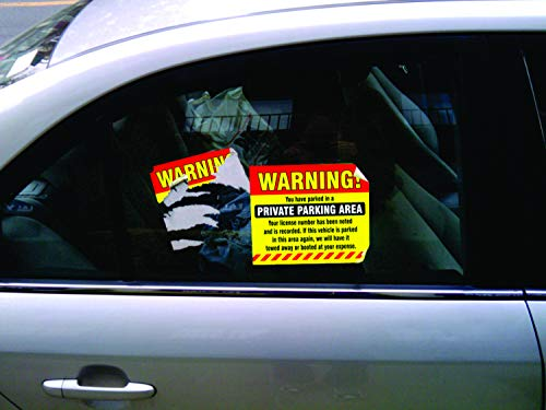 """Private Parking Stickers (Pack of 50) Reserved No Permit Area Violation Warning Notice Vehicle is Illegally Parked - Large Size 6"""" X 9"""" – Yellow Photo #2"""