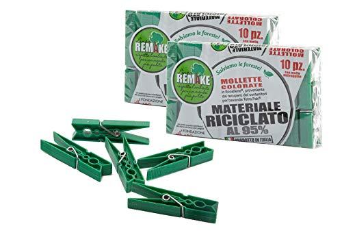 remake Set 20 Mollette Ecologiche Plastica 95% Riciclata, Misura Grande. Ideali per Bucato, Foto, Decorative. Stampo monoblocco. Resistenti e Antivento