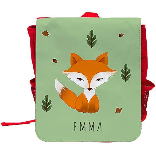 Kinder-Rucksack mit Namen Emma und schönem Motiv mit Aquarell-Fuchs | Rucksack | Backpack