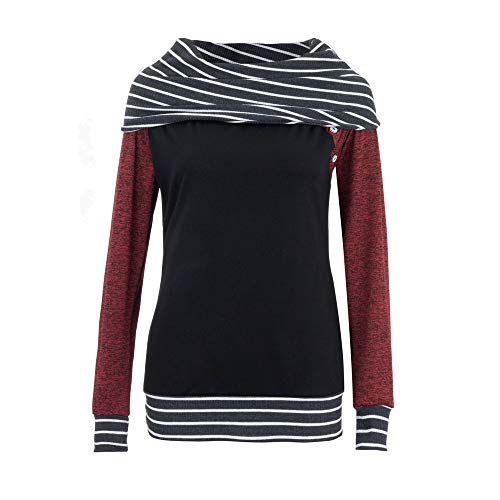 Zegeey Damen Pullover Langarm Gestreift Streifen Basic Lose LäSsige Outwear FrüHling Herbst Winter Bluse Oberteil(rot,34 DE/M CN)