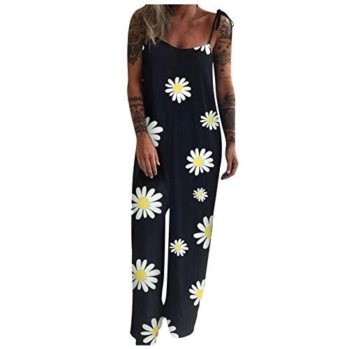 Briskorry Mono para mujer sin mangas, informal, estampado floral, pijama de una pieza, pijama, ropa de dormir, slim, cómodo, holgado, estilo retro Negro XL