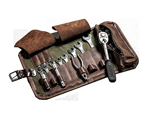 Number Seven Leather Tool Roll Bag Wrap Tools Storage 11 Slots, Workshop Storage, Carpenter Tool Pouch Organizer, Car tool Roll up Tool Bag for Electrician Plumber Carpenter Mechanic (Chocolate Brown)