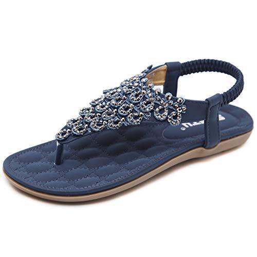 Sandalen Damen Sommer Flach Fashion Elegant Strand Sandaletten mit Glitzer Strass Frauen Boho Gummizug Zehentrenner Schuhe Blau Gr.37