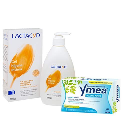 Ymea Vientre Plano - Tratamiento de la Menopausia, Apto para uso prolongado sin estrogenos, 64 Capsulas, Tratamiento 1 mes + Lactacyd Gel de Higiene Íntima Diario, Ph Equilibrado, sin jabón, 400 ml