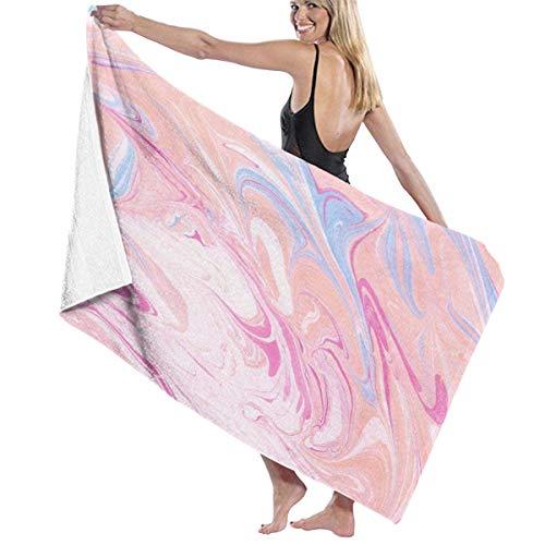 Leo-shop Toalla de Playa Elegante con Textura de mármol Rosa Toalla de baño Toalla de Mano Toallas de Playa a Prueba de Sol Toallas de Secado rápido Toalla de Viaje