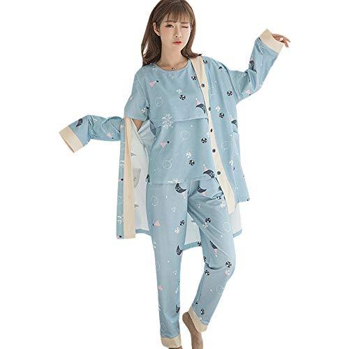 XFentech Verano Conjunto de Pijama de Maternidad para Mujer - Ropa de Dormir Maternidad y Lactancia Pijamas Prenatales y Postparto de 3 Piezas