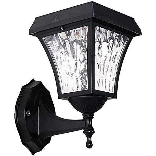 HGTYU Lámpara de Pared Solar al Aire Libre Retro Negro Lámparas de Pared de Aluminio Fundido a Presión LED IP65 Lámparas de Pared de Patio a Prueba de Agua Iluminación de Pared de Paisaje de Jardín