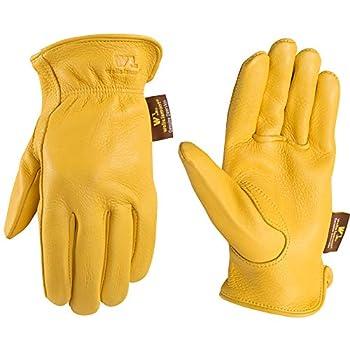 Women's Soft Deerskin Leather Work Gloves  Wells Lamont 987S  Yellow Small