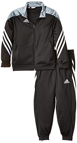 adidas Unisex - Kinder Trainingsanzug Sereno14, Top:black/silver/white Bottom:black/white, 116, F49707
