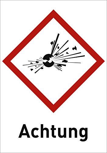 Gefahrstoffetiketten Explodierende Bombe (GHS 01) mit Zusatztext darunter: Achtung 10,5 x 7,4cm Folie Für explosive Stoffe/Gemische und Erzeugnisse mit Explosivstoff.