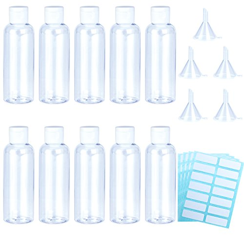 Aneco 10 Pack 100 ml Clear Travel Bottle Empty Transparent Containers Bottles with 5pcs Funnels and 4 Sheets Free Labels