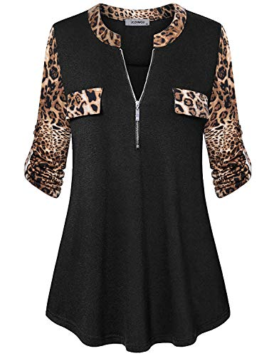 3/4 Sleeve Tunics for Women, Womans Tops Zip Front V-Neck Rolled Up Sleeve Flare Hemlines Loose Relaxed Fit Blouses Shirt House Home to Wear with Leggings Black L
