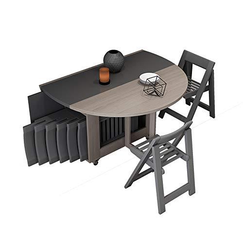 ZHFC Set da Tavolo Pieghevole Pieghevole, Combinazione di Tavolo da Pranzo allungabile Multifunzionale e Combinazione di sedie, Tavolo da Cucina a ribalta con Bordo Arrotondato, per Sala da Pranzo