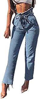 Qootent Women's Loose Jeans Office Lady Pencil Pant Bow Bandage Jeans Trousers