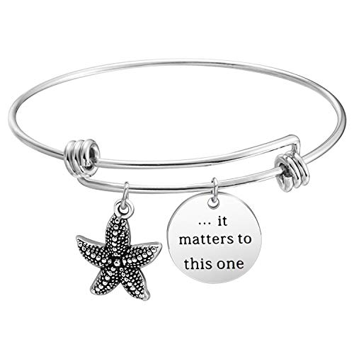 Social Worker Gift Adoption Bracelet It Matters To This One Starfish Charm Bracelet Teacher Gift Idea Sea Star Jewelry (Silver-Bracelet)