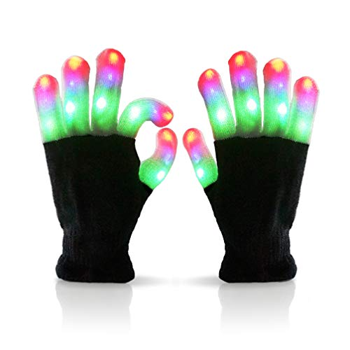 Luwint Children LED Gloves Finger Light Up Gloves - Amazing Colorful Glow Flashing Novelty Toys for Kids with Extra Batteries