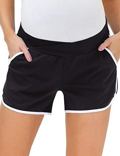 Maacie Women's Maternity Yoga Shorts Stretch Pregnancy Shorts Black M