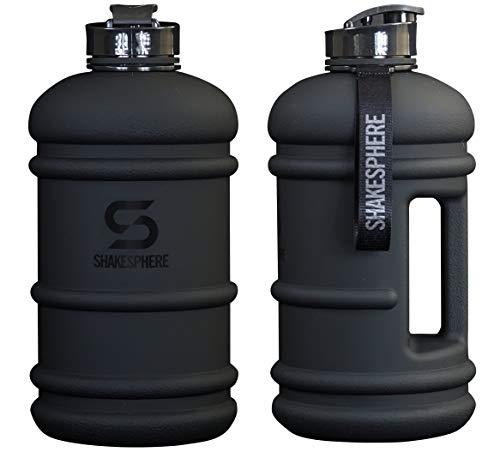 SHAKESPHERE Large Sports Water Bottle - BPA Free Hydration Jug, Black - Ideal for Sports, Camping, Outdoor, Biking & Kids… (Matte Black, 1.3L)