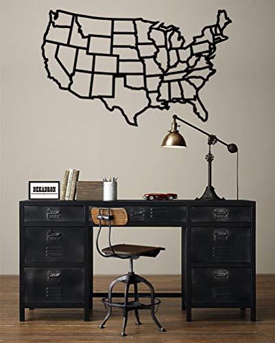 DEKADRON Mapa de Estados Unidos de Metal, Mapa de Estados Unidos, Mapa del Mundo de Metal, Arte de Acero, decoración Interior, Arte de Pared de Metal