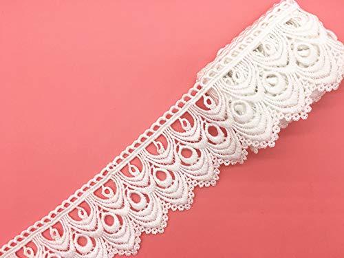 8 cm Breite Europa Wellenmuster unelastisch Stickerei Bordüren Vorhang Tischdecke Slipcover Brautschmuck DIY Kleidung Zubehör (4 Meter in einer...