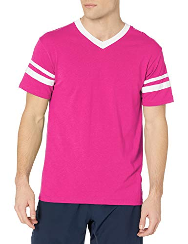 Augusta Sportswear Men's Large Sleeve Stripe Jersey, Power Pink/White