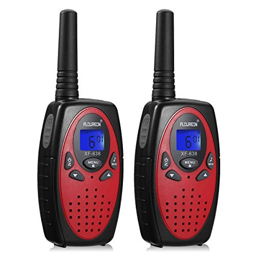 floureon 4 Pack Walkie Talkies for Kids Long Range Two Way Radio 22 Channel 3000M MAX 5000M Black USB Cable Charging Walkie Talkies for Outdoor Adventures Camping Hiking