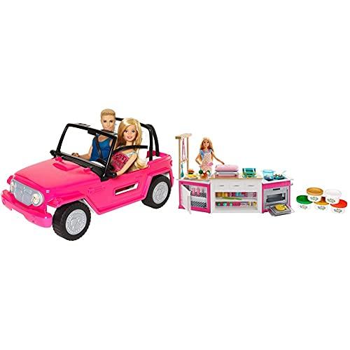 Barbie Jeep Da Spiaggia Playset Con Bambola Bionda E Ken E Suv Rosa, Cjd12 & Frh73 Cucina Da Sogno Con Bambola, 5 Aree Di Gioco, Pasta Modellabile, Luci E Suoni, Giocattolo Per Bambini 4+ Anni