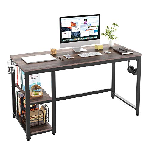 HOMECHO Industrial Computer Desk with 2 Shelves, 55 inch Writing Desk with Storage, Wood Laptop Study Table with Headphone & Cup Holder for Home Office, Sturdy Metal Frame, Easy Assembly, Dark Brown